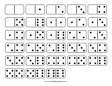 printable domino double six set these printable standard dominoes have ...