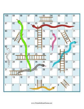 Snakes and Ladders Printable Board Game